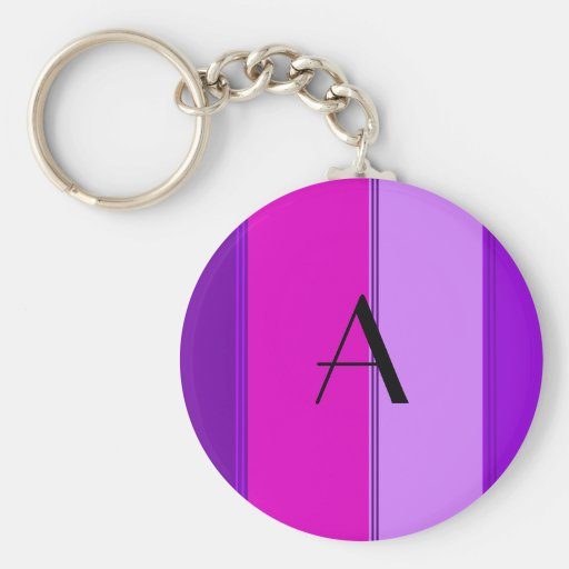 Pink and purple stripes monogram keychain