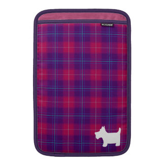 Pink and Purple Tartan with Scottie Dog Silhouette MacBook Sleeve
