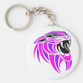 Pink and Purple Tiger Head Basic Round Button Keychain