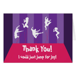 Pink and Purple Trampoline Party Thank You Card