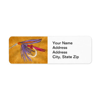 """Pink and Purple"" Trout Fly Return Address Label"