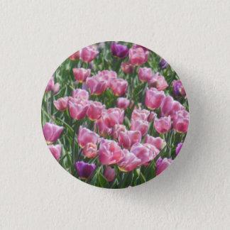 Pink and Purple Tulip Garden 3 Cm Round Badge