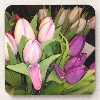 Pink And Purple Tulips Coaster