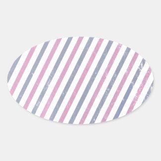 Pink and Purple Vintage Stripe Oval Sticker
