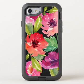 Pink and Purple Watercolor Blossoms OtterBox Defender iPhone 8/7 Case