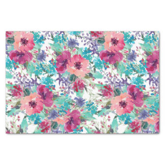 Pink and Purple Watercolor Floral Pattern Tissue Paper