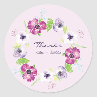 Pink and Purple Watercolor Flowers Wedding Thanks Classic Round Sticker