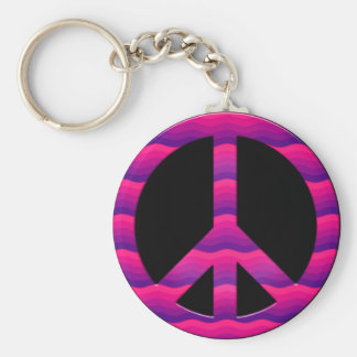 PINK AND PURPLE WAVES PEACE SIGN KEYCHAIN