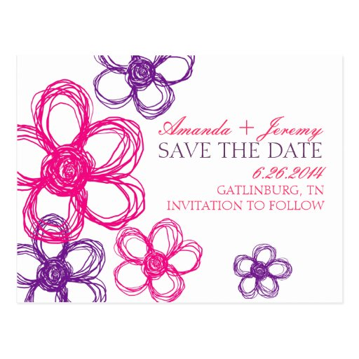 Pink and Purple Wildflowers Save The Date Post Cards