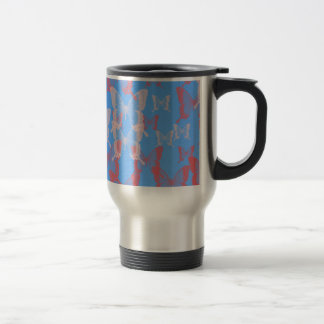 pink and red butterfly  with blue background travel mug
