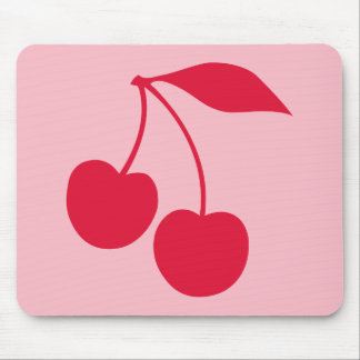 Pink and Red Cherries Shape Mouse Mat