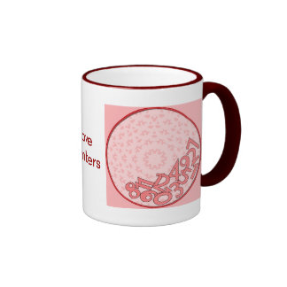 Pink and red, fallen numbers ringer mug