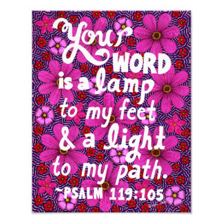 Pink And Red Flowers Typography Bible Verse Photo Print
