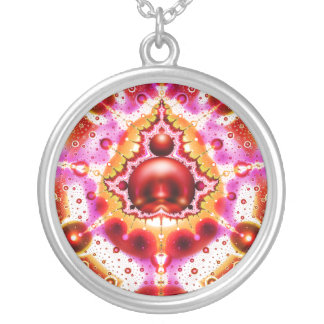 Pink and Red Fractal Art Pendant Necklace