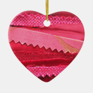 Pink and Red Heart Fabric Ornament