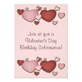 Pink and Red Hearts Valentine's Day Birthday Party 13 Cm X 18 Cm Invitation Card