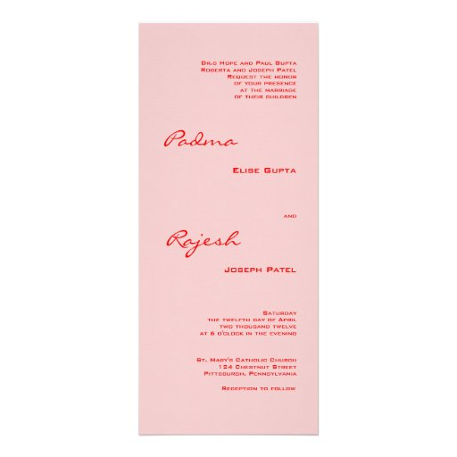 Pink and Red Paisley Indian Wedding Custom Announcements