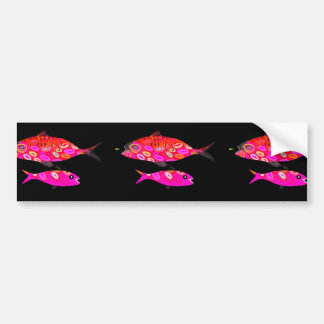 Pink and red psychedelic fish bumper sticker