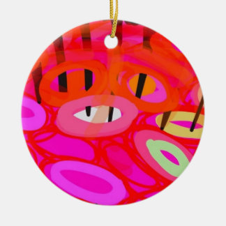 Pink and red psychedelic fish round ceramic decoration