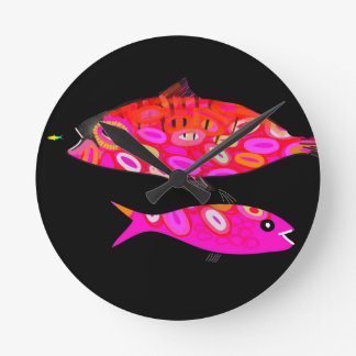 Pink and red psychedelic fish round clock