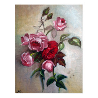 Pink and Red Roses Floral Postcard