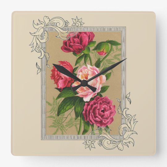 Pink And Red Roses Painting Square Wall Clock
