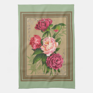 Pink And Red Roses Painting Tea Towel