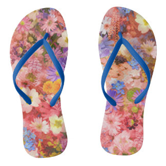 Pink and Red Spring Flowers Flip Flops
