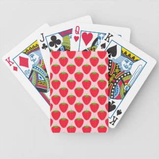 Pink and Red Strawberry Pattern. Bicycle Playing Cards