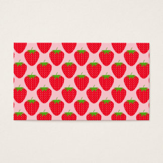 Pink and Red Strawberry Pattern. Business Card