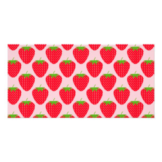 Pink and Red Strawberry Pattern. Photo Greeting Card