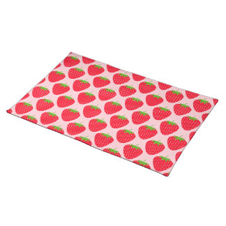 Pink and Red Strawberry Pattern. Placemat