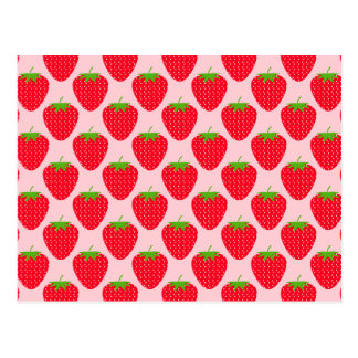 Pink and Red Strawberry Pattern. Postcard