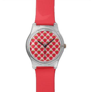 Pink and Red Strawberry Pattern. Wrist Watch