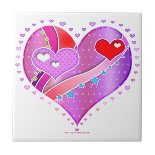 Pink and Red Valentine Heart Ceramic Tile