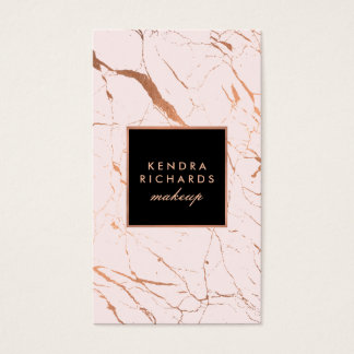 Pink and Rose Gold Marble Makeup Artist Business Card