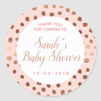 Pink and Rose gold polkadot baby shower sticker