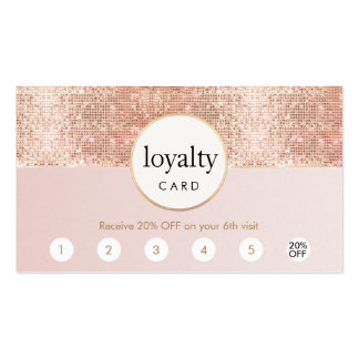Pink and Rose Gold Sequin Salon 6 Punch Loyalty Pack Of Standard Business Cards
