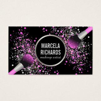 Pink and Silver Blush Confetti Makeup Artist Business Card