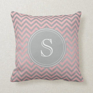 Pink and Silver Chevron pillow