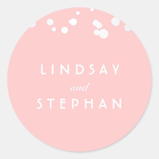 Pink and Silver Confetti Wedding Classic Round Sticker