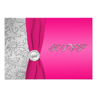 Pink and Silver Damask Quinceanera RSVP Card Custom Invites
