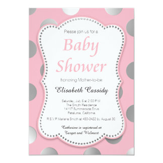 Pink and Silver Dots Baby Shower Invitation