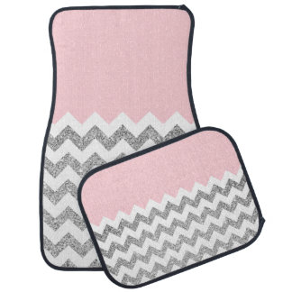Pink and Silver Faux Glitter Chevron Car Mat