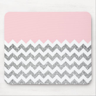 Pink and Silver Faux Glitter Chevron Mouse Mat