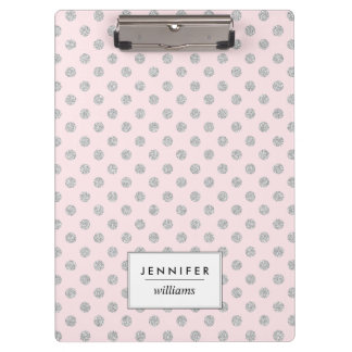 Pink and Silver Faux Glitter Dots Personalized Clipboard