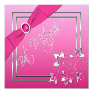 Pink and Silver Floral Bat Mitzvah Invitation