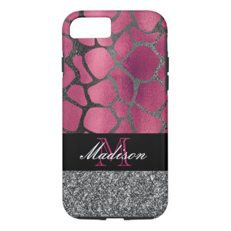 Pink and Silver Glitter Metallic Animal Print iPhone 8/7 Case
