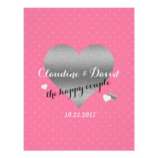 Pink And Silver Heart Polka Dot Wedding Flyer