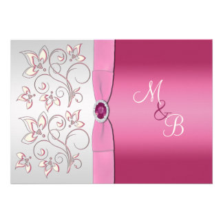 Pink and Silver Monogram Invitation